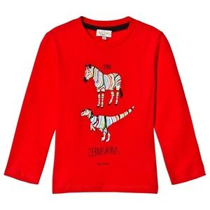 Paul Smith Junior Zebrasaurus Red Cotton Long Sleeved Tee Size 12A